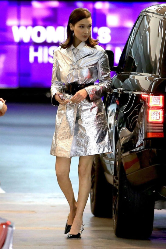 Bella Hadid in a Silver Metallic Dress