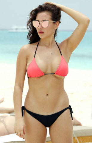 Chloe Goodman in Bikini at a Beach in Dubai