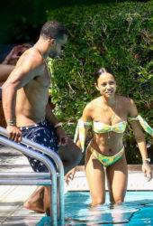 Karrueche Tran in Bikini at the Pool in Miami