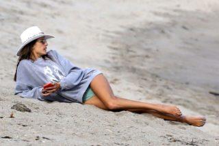 Alessandra Ambrosio on the Beach in Malibu