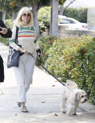 Alice Eve out walking her dog in Los Angeles