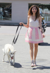 Blanca Blanco Out with Her Dog in Malibu