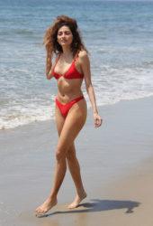 Blanca Blanco in a Skimpy Red Bikini on the Beach in Malibu