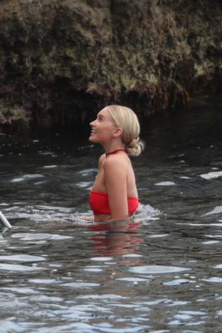 Elsa Hosk in a Red Bikini at Eden Roc Hotel in Antibes
