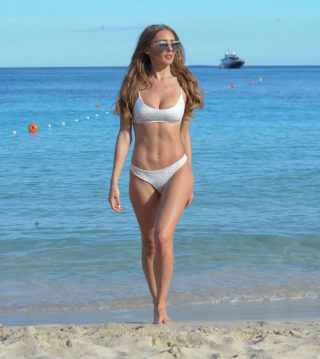 Georgie Clarke in Bikini at the Beach in Tenerife