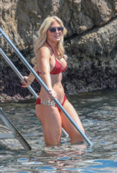 Hofit Golan in Red Bikini Eden Roc Hotel in Antibes