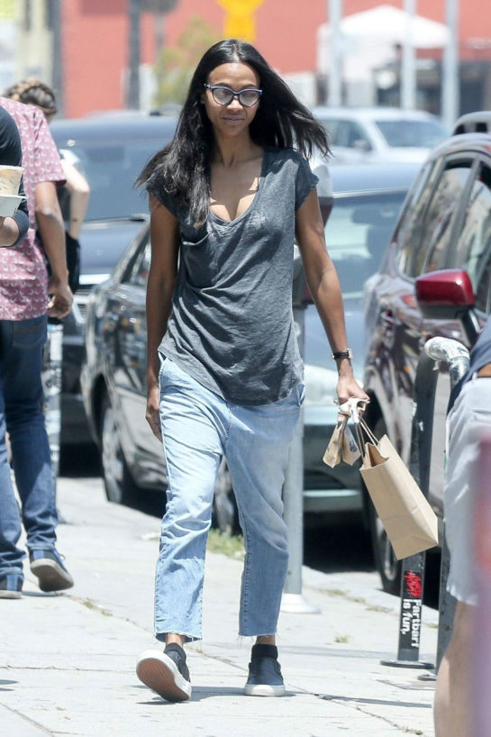 Zoe Saldana in Jeans Out for Coffee in Los Angeles
