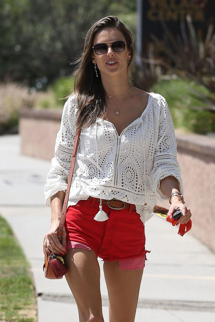 Alessandra Ambrosio in Short Red Denim Shorts