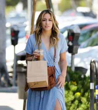 Chloe Bennet in Blue Dress - Shopping in Los Angeles