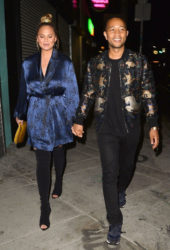 Chrissy Teigen and John Legend at Jon and Vinny's restaurant in Los Angeles