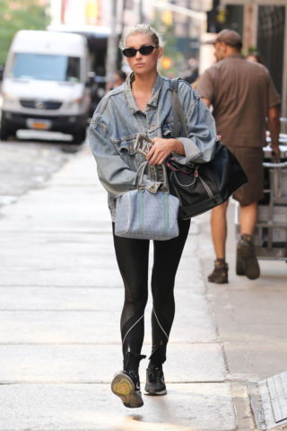 Elsa Hosk in Spandex Walking in New York