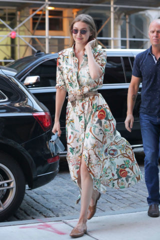 Gigi Hadid in a Floral Print Dress in New York City