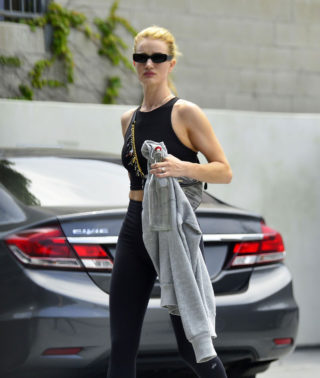 Rosie Huntington Whiteley leaving Body by Simone fitness club in LA