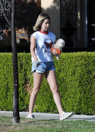 Ashley Tisdale in Denim Shorts Makeup Free Out in Los Angeles