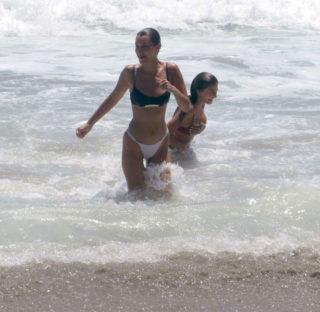 Bella Hadid in Black and White Bikini at the beach in Thousand Oaks