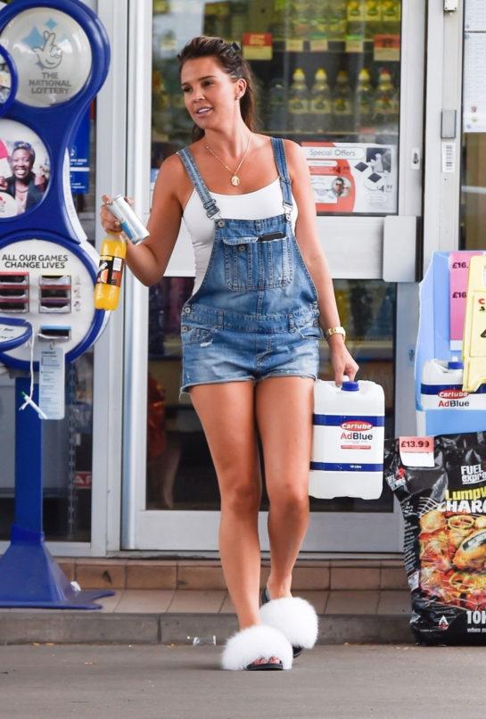 Danielle Lloyd in Denim Shorts Out in Birmingham