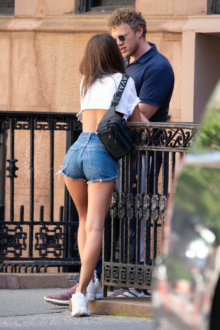 Emily Ratajkowski in Denim Shorts Out in New York