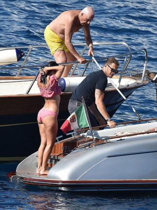 Kourtney Kardashian in Bikini at a Boat in Portofino