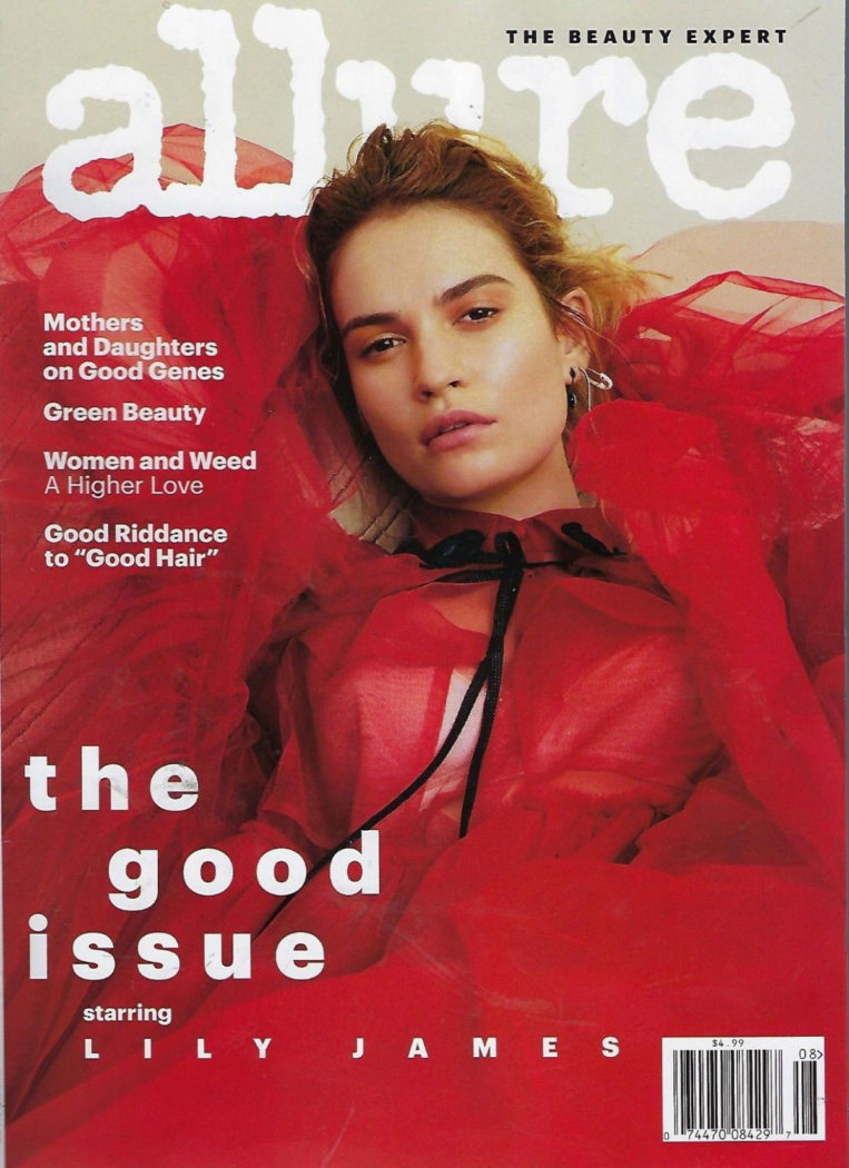 Lily James on the Cover of Allure Magazine (August 2018)