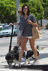 Nina Dobrev Out with Her Dog in Los Angeles