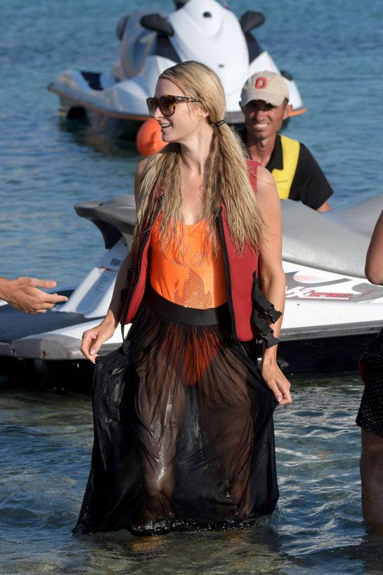 Paris Hilton on the beach in Mykonos