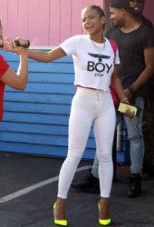 Street Style - Christina Milian in Tight White Pants