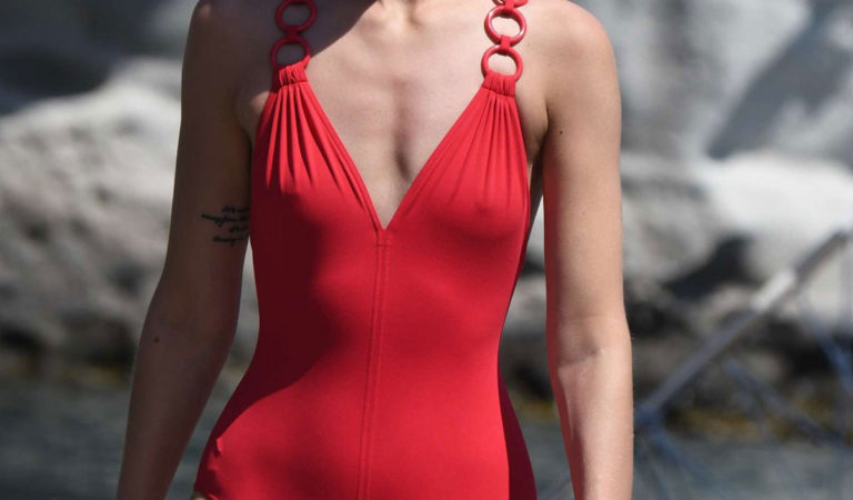 Celebrity Swimsuit – Sveva Alviti in Red Swimsuit on the beach in Ichia