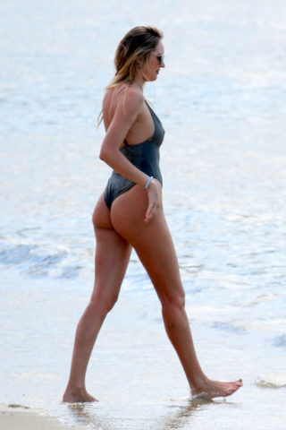 Candice Swanepoel in Swimsuit on the Beach in Espirito Santo