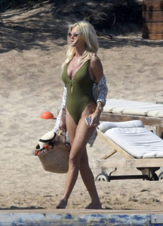 Victoria Silvstedt in Swimsuit on the Beach in Sardinia