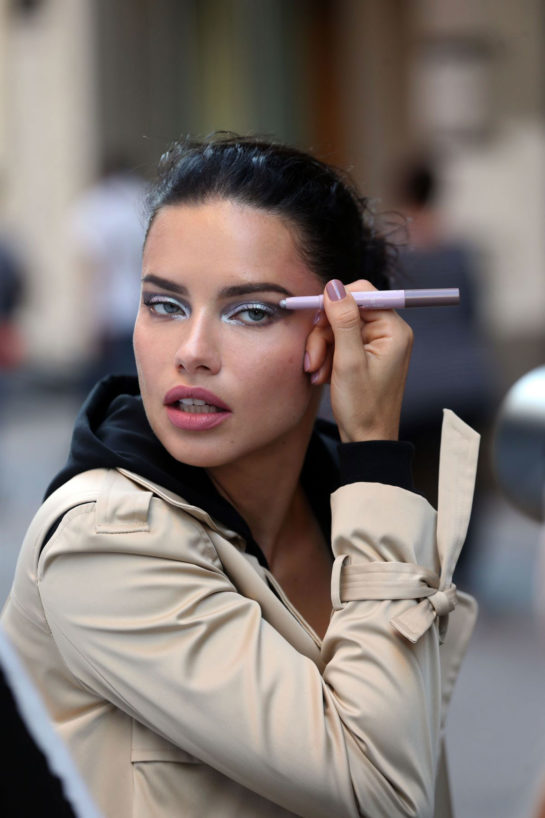 Adriana Lima on the Set of a Maybeline Commercial in New York