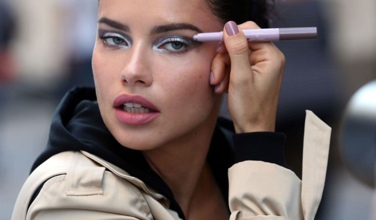 Makeup – Adriana Lima on the Set of a Maybeline Commercial in New York
