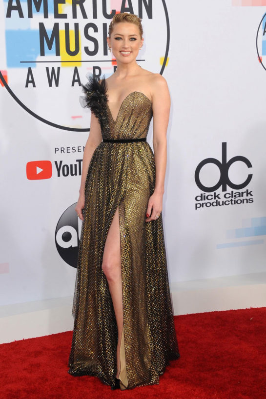 Amber Heard at 2018 American Music Awards in Los Angeles