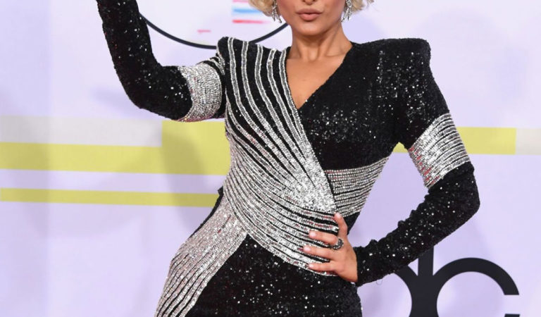 Red Carpet – Bebe Rexha at 2018 American Music Awards in Los Angeles