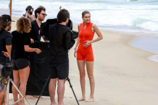 Gigi Hadid on the Set of a Photoshoot at Ipanema Beach in Rio De Janeiro