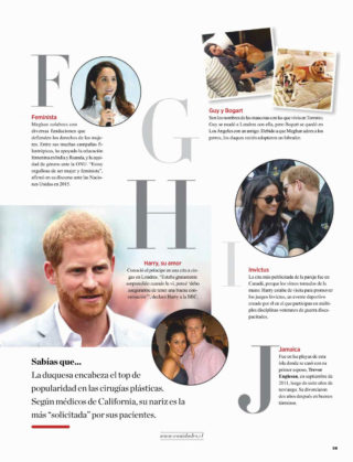 Meghan Markle in Vanidades Magazine (Chile October 2018)