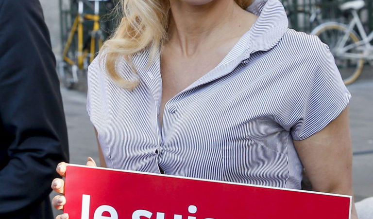 Celebrities Protest – Pamela Anderson Protests Breeding of Animals in Cages in Paris