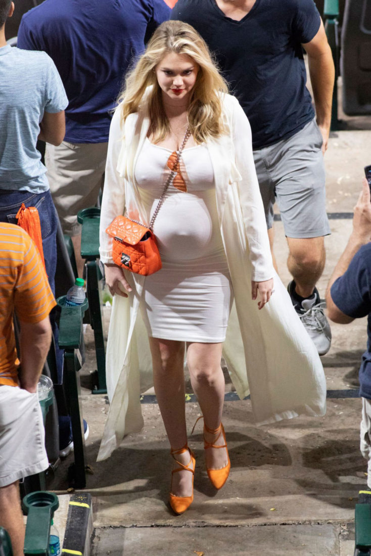 Pregnant Kate Upton at a Baseball Game in Houston