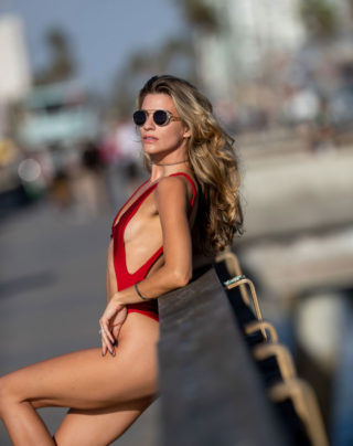 Rachel McCord in Swimsuit on the Set of a Photoshoot in Santa Monica
