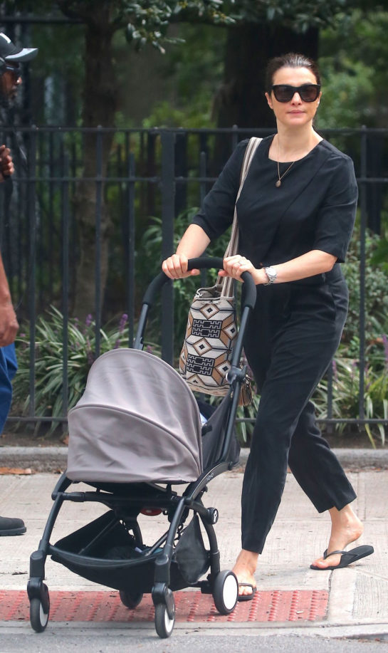 Rachel Weisz pushing a stroller Out and About in New York