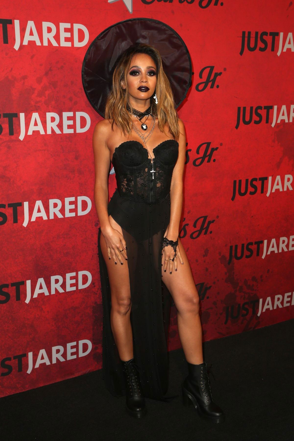 celebrity night out – vanessa morgan at just jared's 2018 halloween