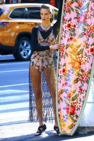 Carolyn Murphy on the Set of Photoshoot for Harper's Bazaar in New York