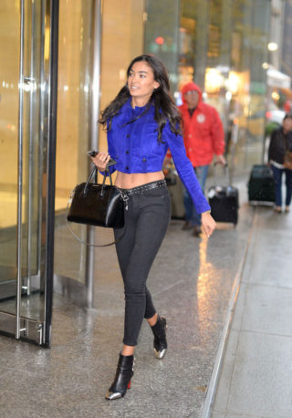 Kelly Gale Outside Victoria's Secret headquarters in NYC