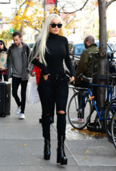 Rita Ora All in Black Out in New York