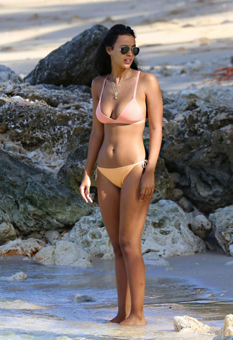 Maya Jama in Bikini at a Beach in Barbados
