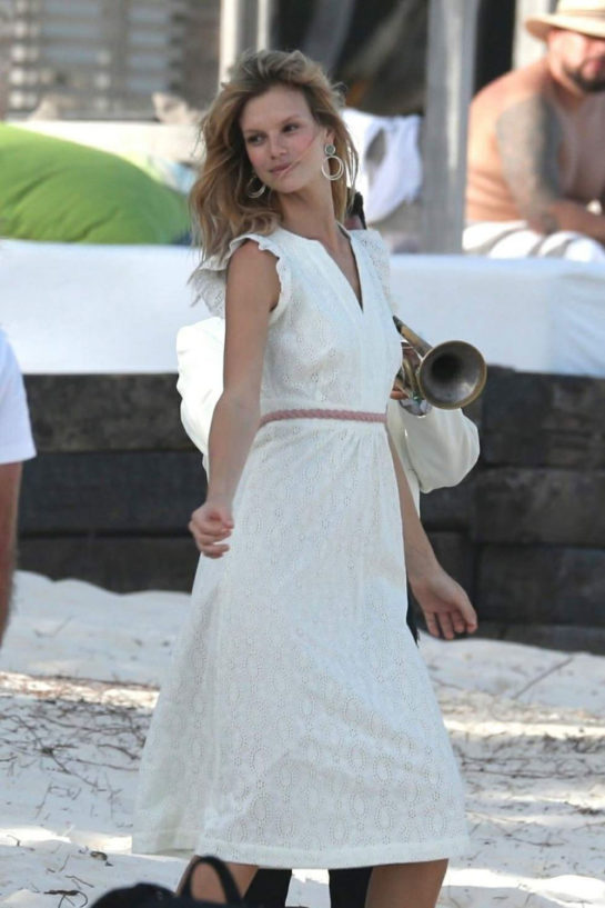 Nadine Leopold on the Set of a Photoshoot in Tulum