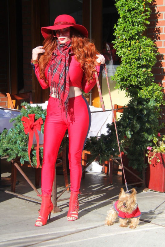 Phoebe Price Out with her dog in Beverly Hills