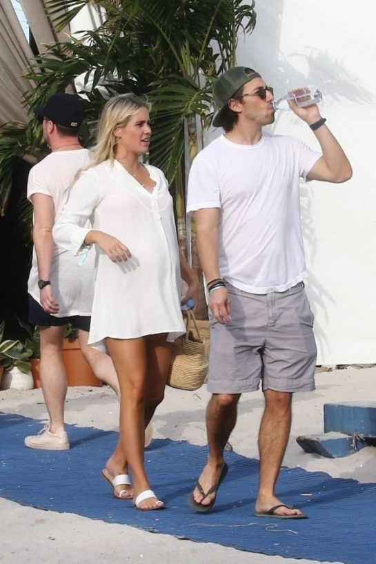 Pregnant Claire Holt and Andrew Joblon Out in Miami