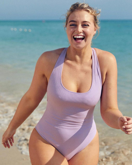 Iskra Lawrence in Swimsuit on the Set of a Photoshoot (January 2019)