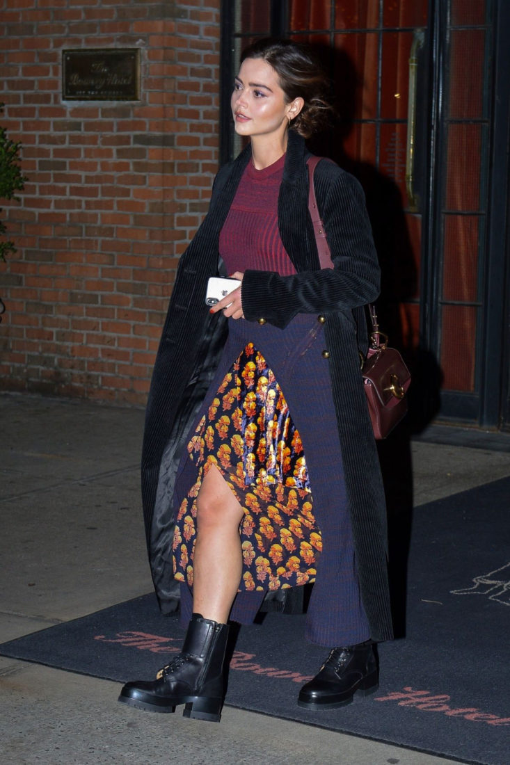 Jenna Coleman leaves Bowery Hotel in New York