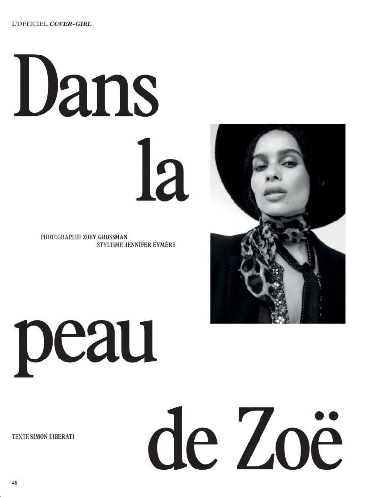 Zoe Kravitz for L'Officiel Paris Magazine (February 2019)
